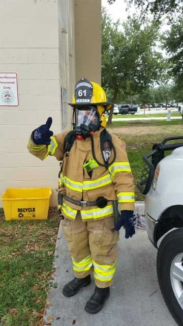 In full gear. Ready for the day's grueling exercise training at Palm Beach Gardens Fire Rescue.
