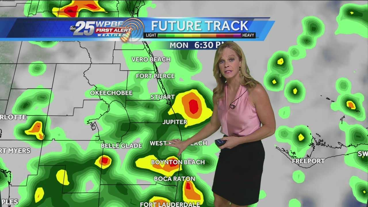 Expect a stormy Monday with scattered to numerous showers and storms likely. Some of the downpours could produce flooding rains. A trough of low pressure continues to spin to our north, keeping ample tropical moisture flowing into South Florida. it will be quite humid as well with a high of 91.