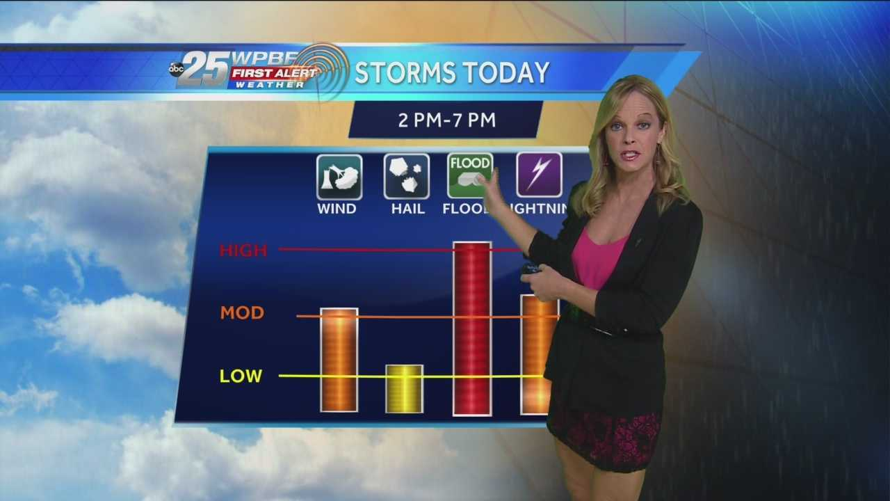 After a washout Monday, we still have the potential for more afternoon showers and storms Tuesday thanks to a low pressure system moving away from northeast Florida and the tropical moisture already in place. Sandra Shaw discusses your Tuesday forecast and when you can expect to see the rain.