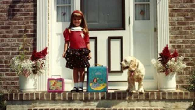 Check out that Little Mermaid backpack and lunch box! Think you know who it is?