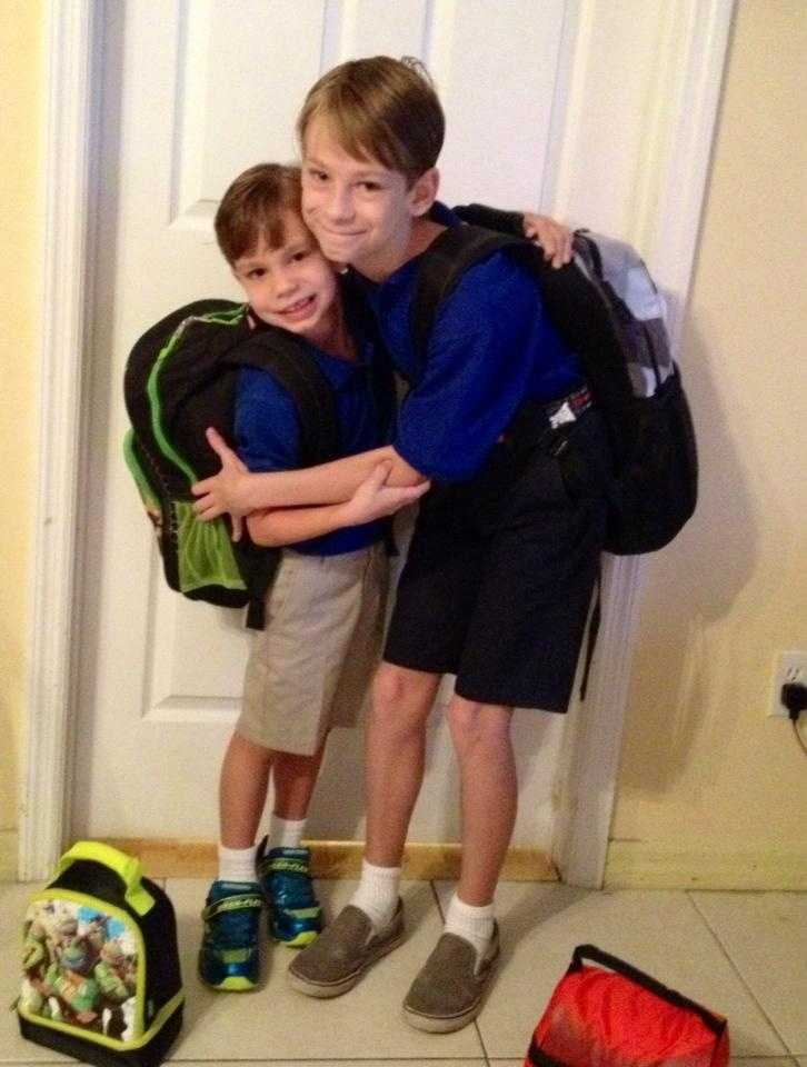 Branden's first day of Kidergarten and big brother Tyler's first day of 4th grade! --From Tracy Taylor Rothe