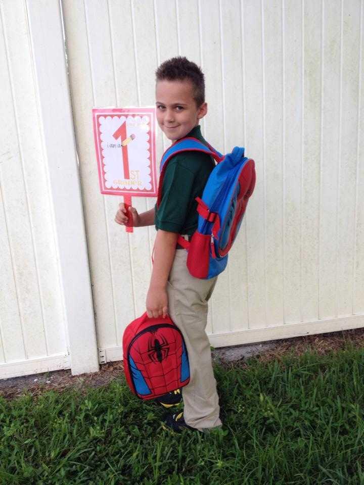 Elijah's 1st day of 1st grade-- Jze Hero