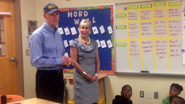 Governor Rick Scott toured Hope-Centennial Elementary School Wednesday, one day after winning the Republican Florida Primary.