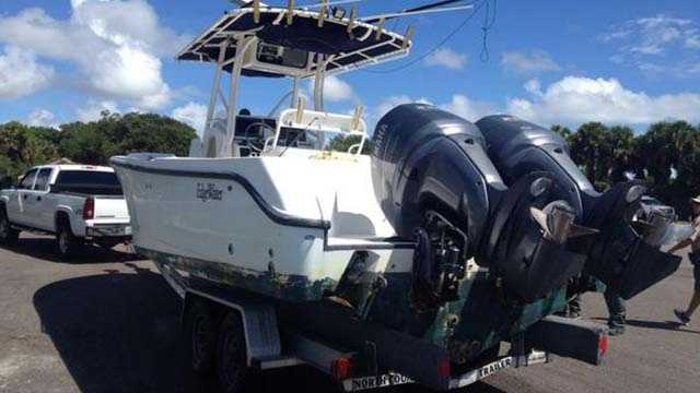 A photo of the boat discovered beached this morning near Spinnaker Point in Jensen Beach.