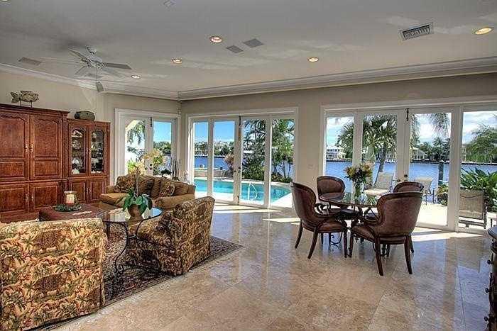 Floor to ceiling windows displays the ocean view.