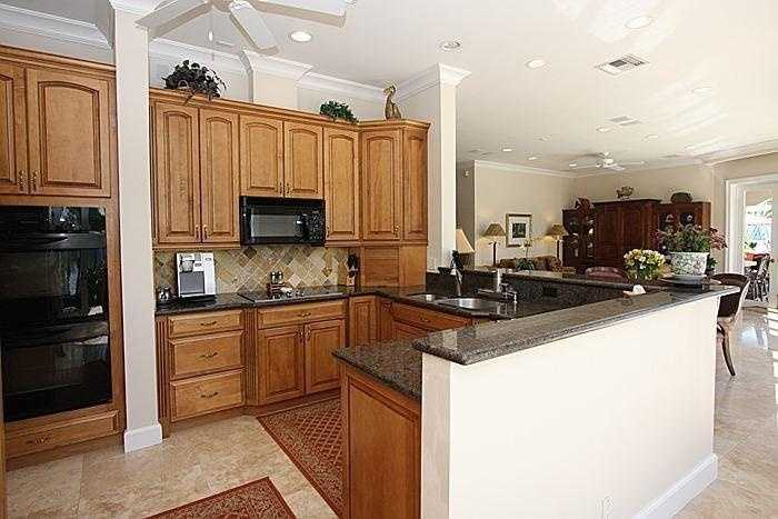 Top-of-the-line appliances through out the kitchen.