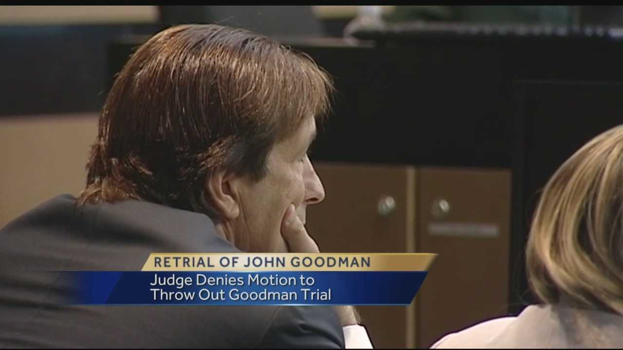 John Goodman's attorneys Tuesday again tried to get his DUI manslaughter re-trial dismissed, accusing the state during the first trail of conducting a secret examination of Goodman's Bentley and then lying about it.