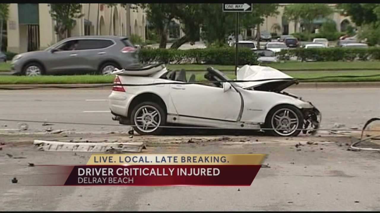 A woman was seriously injured Wednesday after she crashed her Mercedes into a utility pole. It happened in the westbound lanes on Linton Boulevard near I-95. Ted White was on scene.