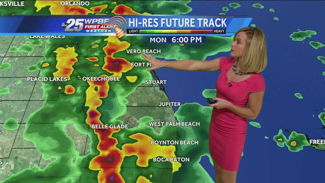 A Flood Watch is in effect for the Treasure Coast until Tuesday evening. Slow-moving rains and storms will move in from the Gulf of Mexico. The rain will continue along a stalled frontal boundary until at least Thursday. So expect an unsettled week, similar to last week. Today's rains are expected later this afternoon and will likely persist into the early evening.
