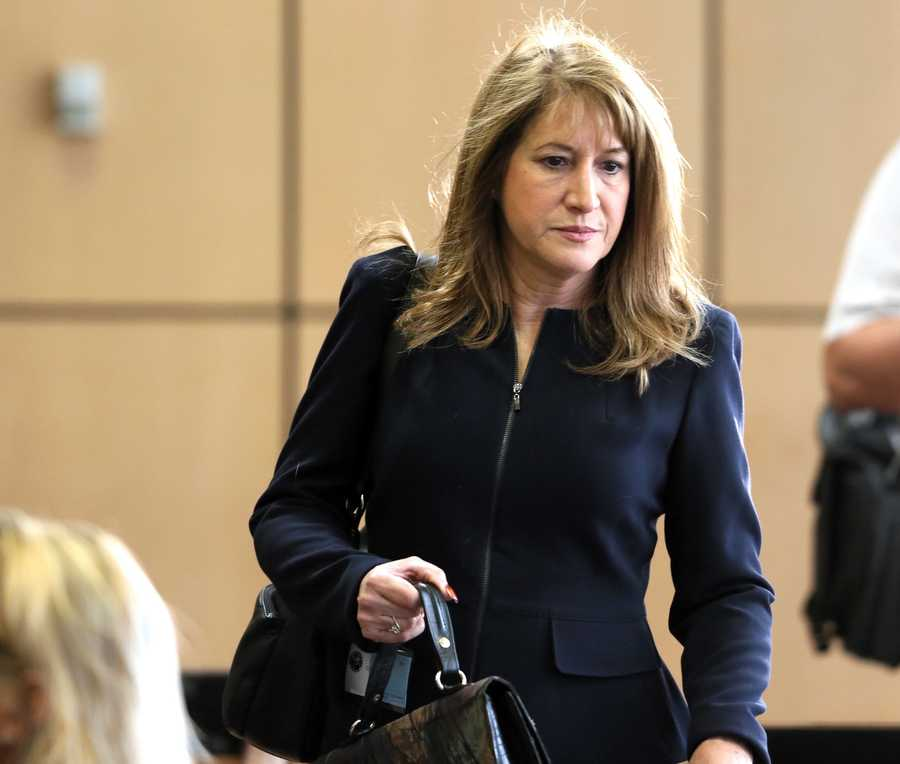 Lili Wilson, mother of Scott Wilson, arrives in court on the second day of John Goodman's retrial Monday, October 13, 2014. Goodman is charged with DUI manslaughter in the death of Scott Wilson. (Lannis Waters / The Palm Beach Post)