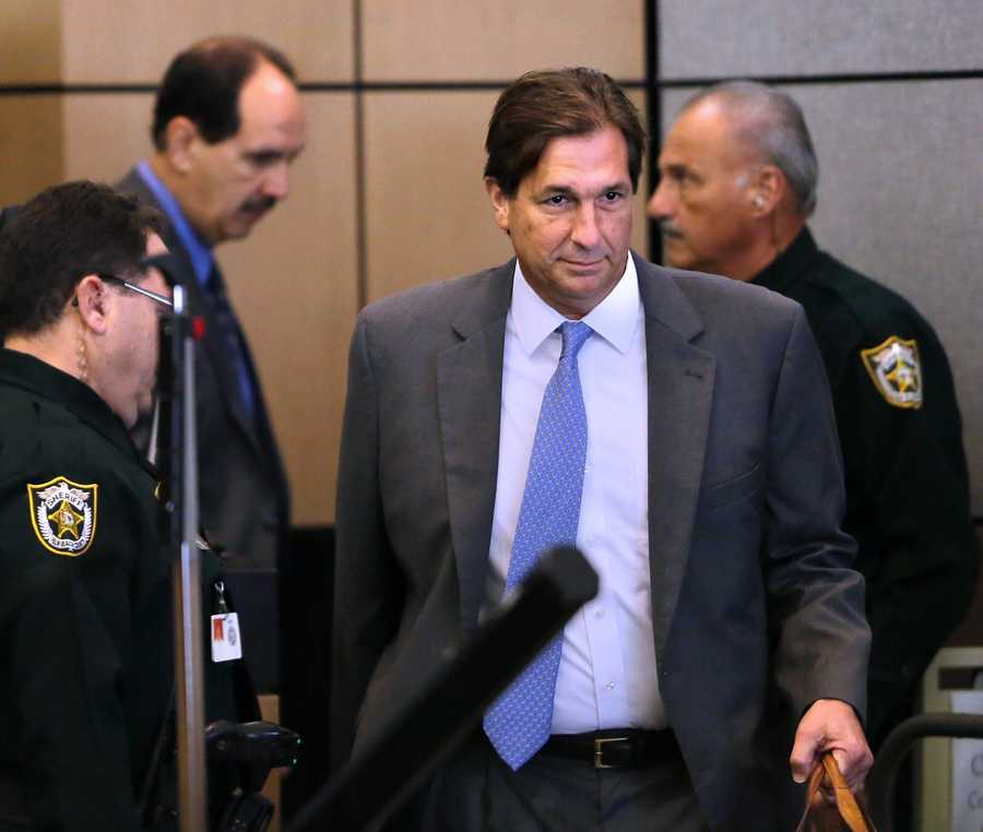 John Goodman enters court for the fifth day of his retrial Thursday, October 16, 2014. Goodman is charged with DUI manslaughter in the death of Scott Wilson. (Lannis Waters / The Palm Beach Post)