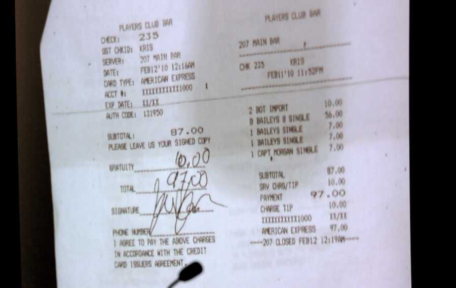 Kris Kampsen's bar tab at The Players Club is shown during bartender Cathleen Lewter's testimony on the fifth day of Goodman's retrial Thursday, October 16, 2014. Goodman is charged with DUI manslaughter in the death of Scott Wilson. (Lannis Waters / The Palm Beach Post)