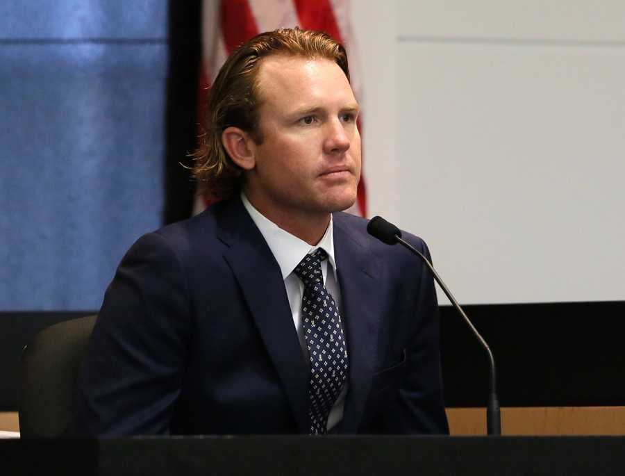 Kris Kampsen testifies for the defense on the ninth day of john Goodman's retrial Tuesday October 21, 2014. Goodman is charged with DUI manslaughter in the death of Scott Wilson. (Lannis Waters / The Palm Beach Post)