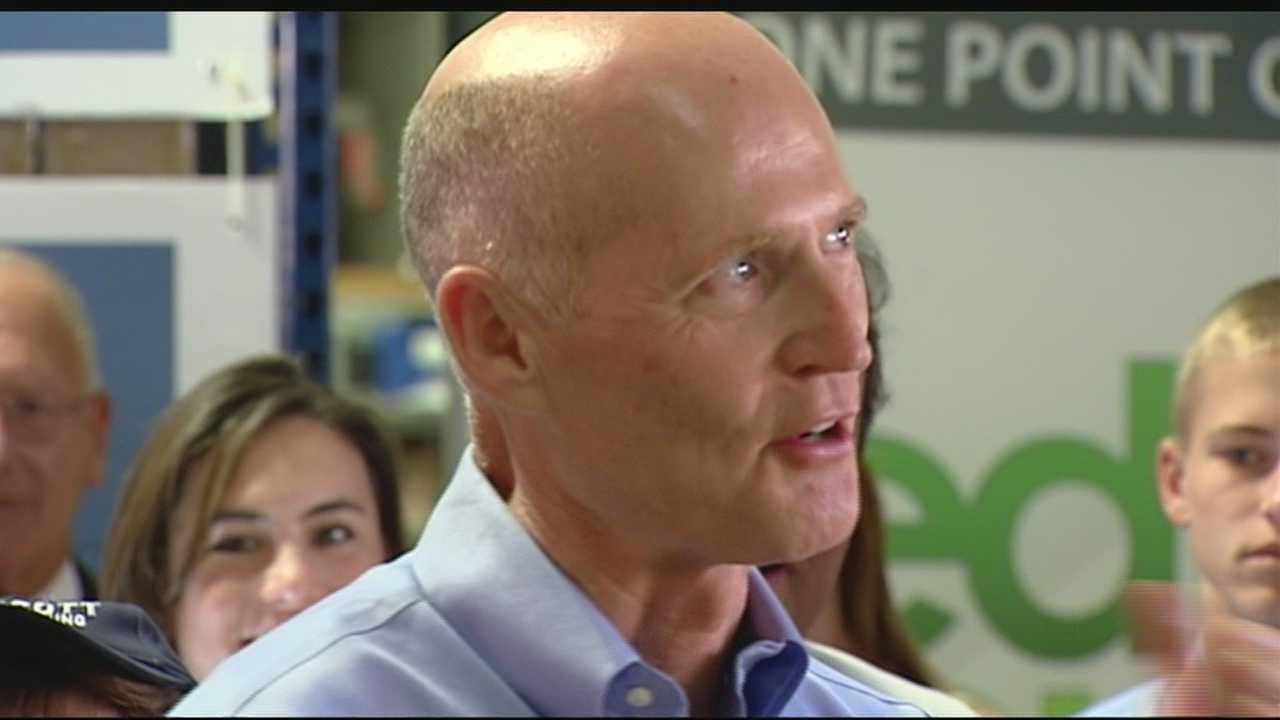 Florida governor Rick Scott continues to get political backing from New Jersey governor Chris Christie. The two appeared at a rally in Wellington Monday morning, urging people to do their part. Chris McGrath has the story.
