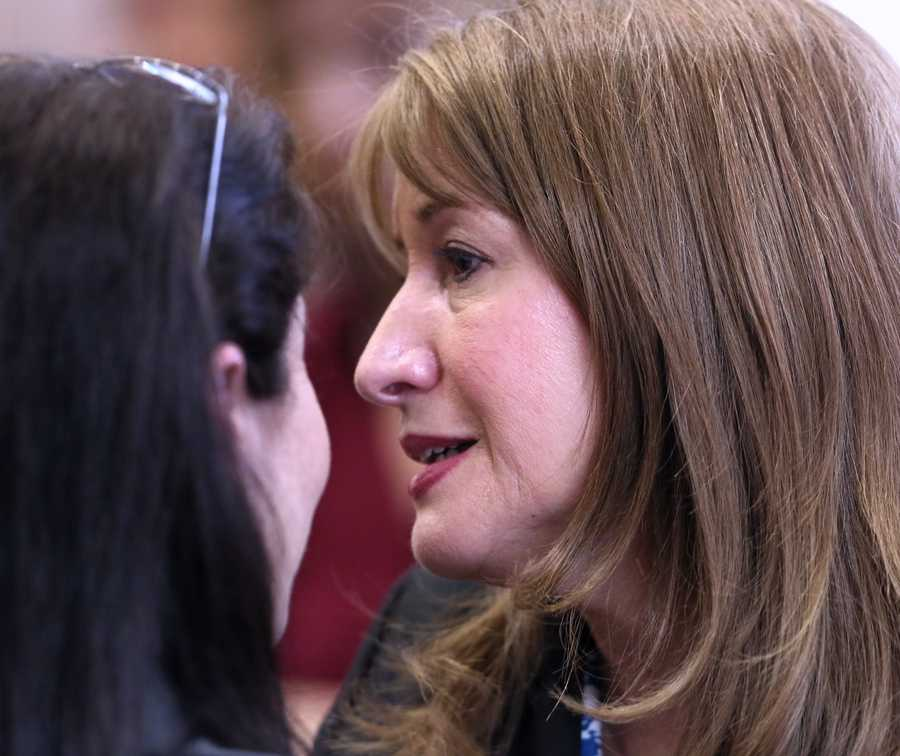 Lili Wilson (right), mother of Scott Wilson, is hugged by prosecutor Sherri Collins after John Goodman was found guilty of DUI manslaughter with failure to render aid in the death of Scott Wilson. (Lannis Tuesday, October 28, 2014 after the jury Waters / The Palm Beach Post)