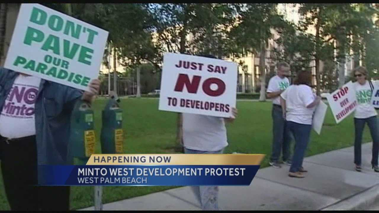 A capacity crowd filled Palm Beach County commission chambers Wednesday morning ahead of a vote on the controversial Minto West project. Commissioners will spend the day hearing presentations before voting on zoning, land use and code changes that could ultimately green light the project in the Acreage. Chris McGrath has the report.
