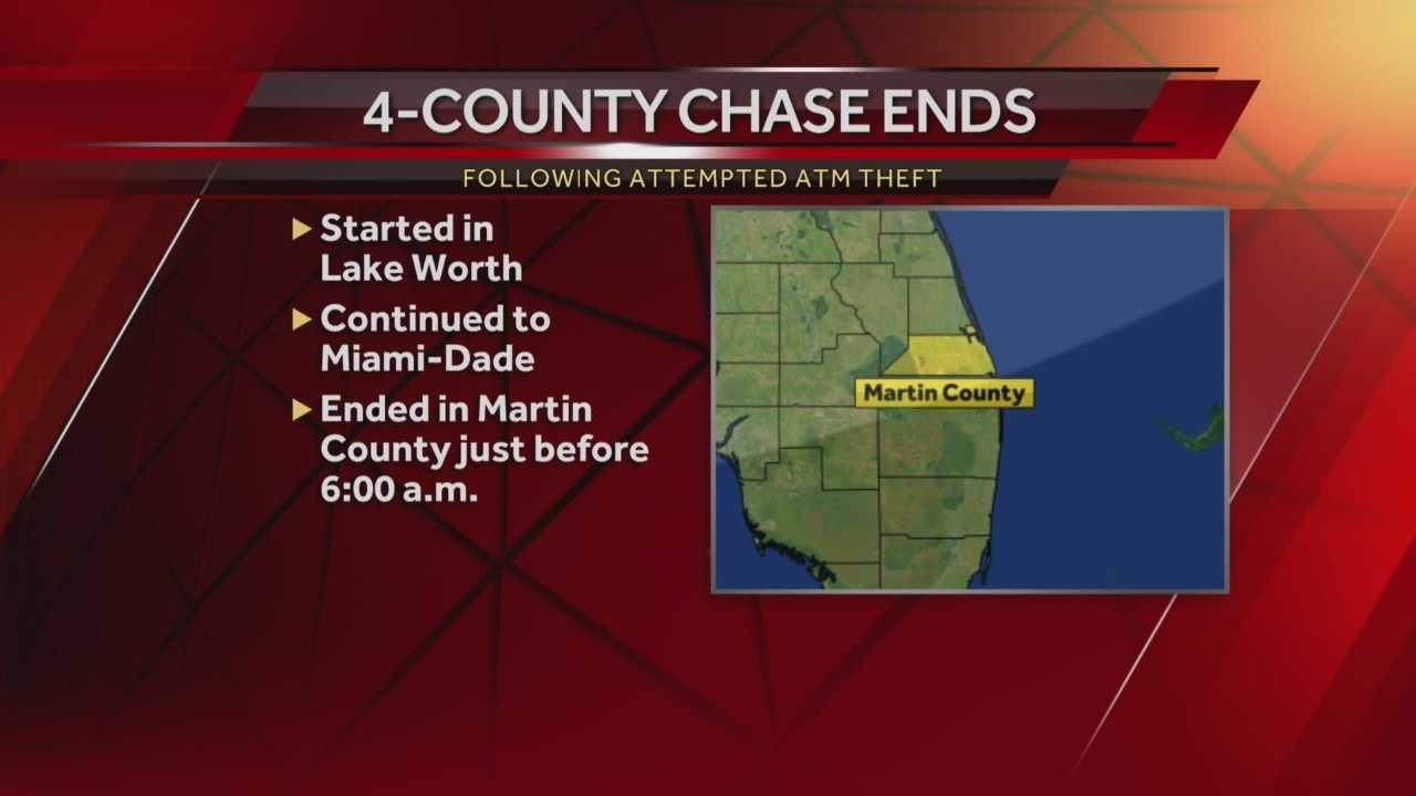 A 4-county high-speed chase came to an end early Monday morning following an ATM heist at a Bank of America in Lake Worth.
