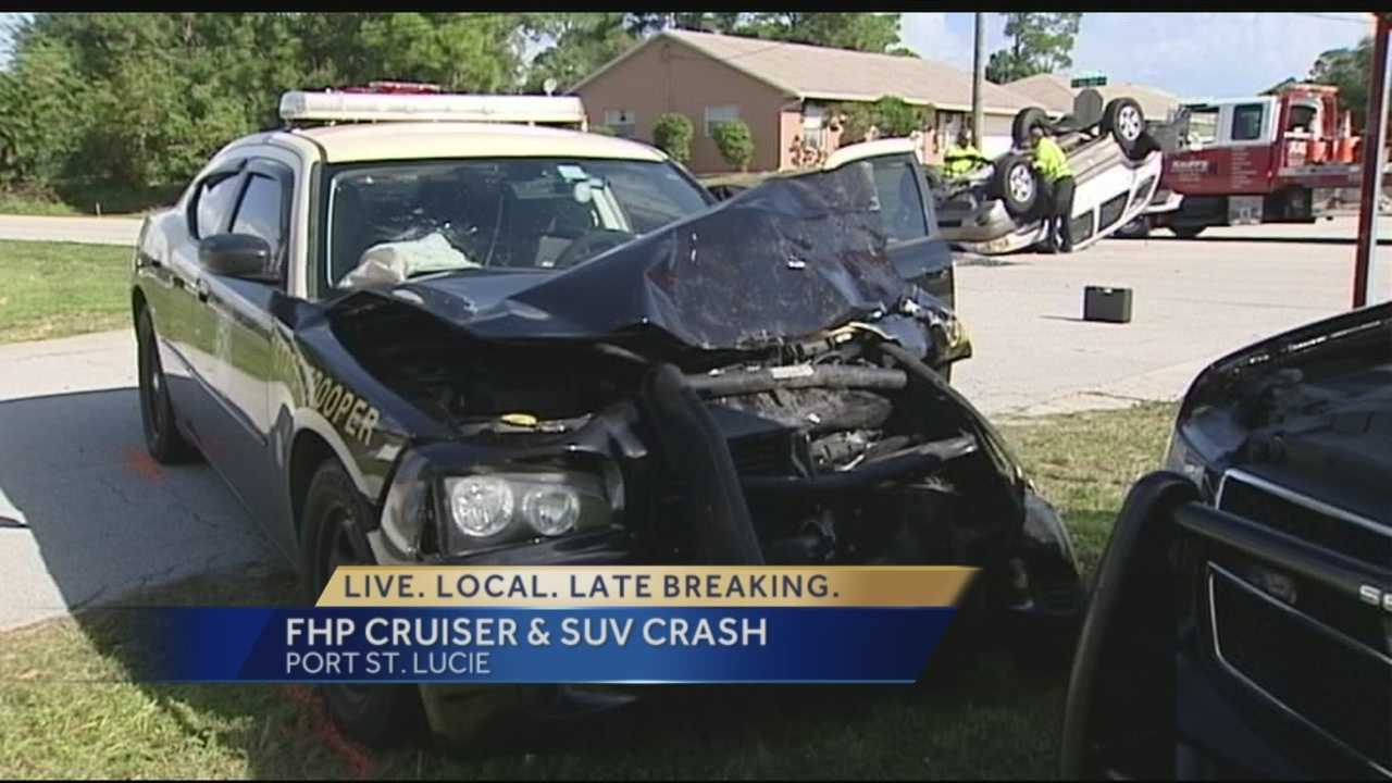 FHP patrol car crashes into SUV in Port St. Lucie