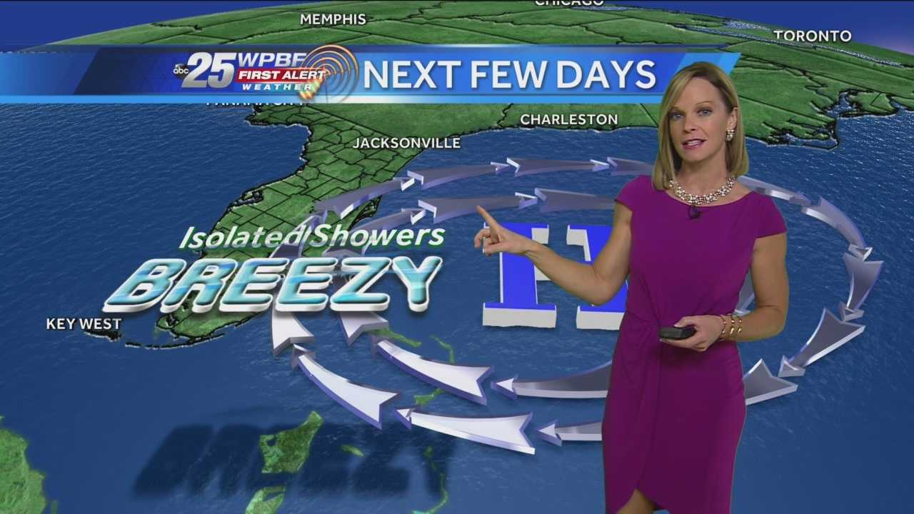 Today we will see some pop-up showers moving in from the Atlantic thanks to that persistent northeast wind, gusting up to 20 mph at times. The high will reach 79-81 degrees with a cloud-sun mix. The same trend will continue tomorrow. By the weekend expect sunny skies & highs around 80 with less wind and no major shower chances.