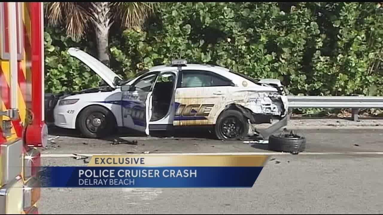 The Florida Highway Patrol is investigating after an out-of-control car slammed into a Delray Beach police cruiser Friday on Atlantic Avenue and Interstate 95.