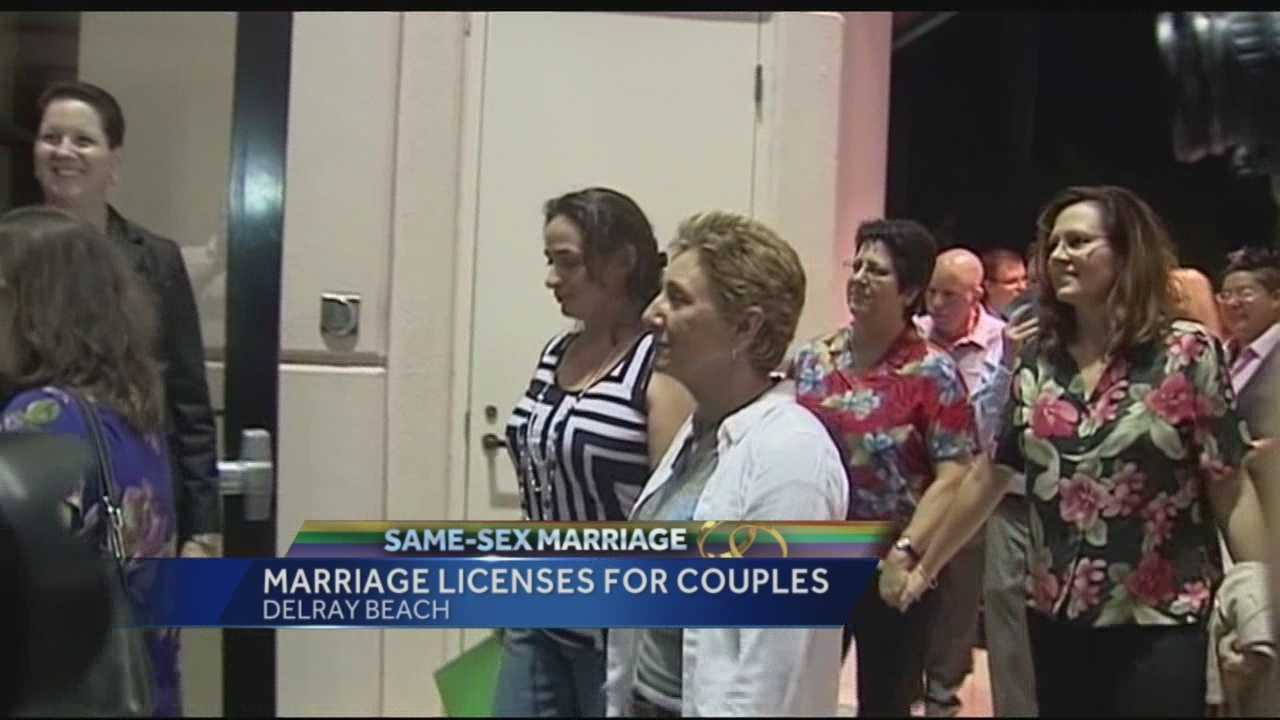 "By the time doors opened to the Palm Beach South County Courthouse at 10 p.m. Monday, dozens of same-sex couples were waiting in line eager to fill out marriage licenses and wed. ""We've been waiting 17 years for this,"" said Verdena Turnquist, who was first in line along with her partner, Wanda Mason."