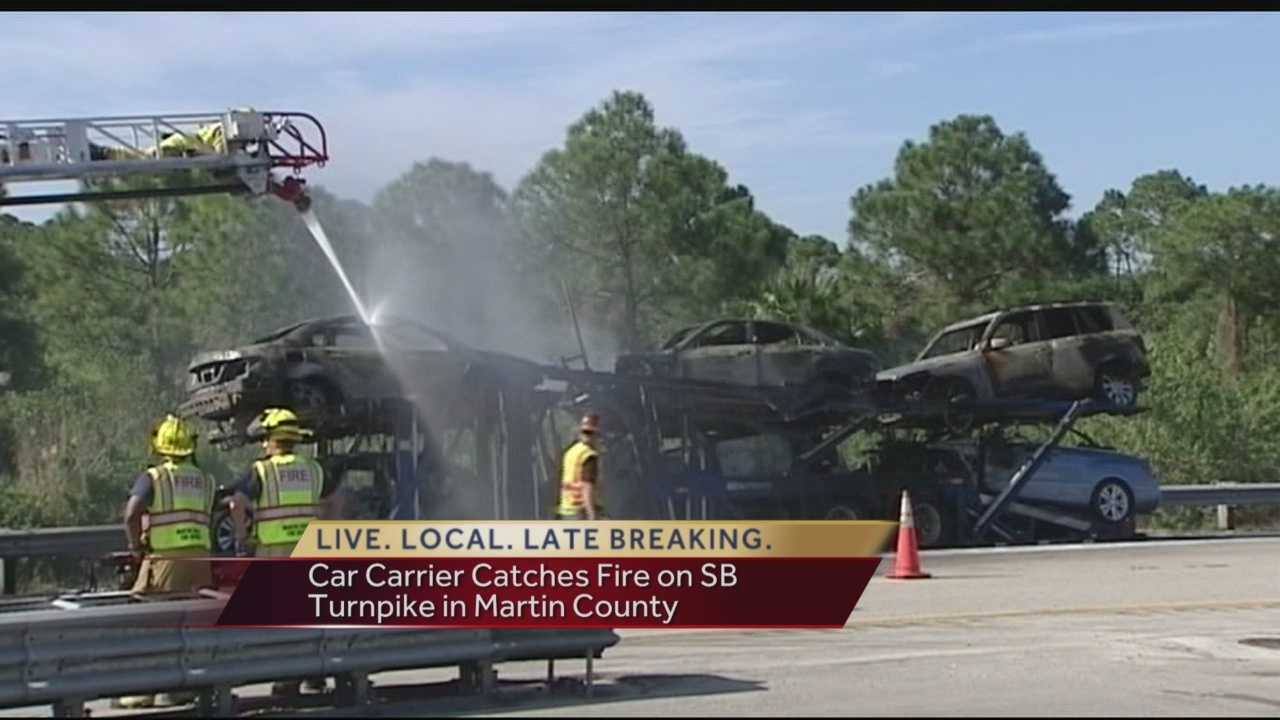 Southbound traffic was delayed Wednesday following a car carrier fire on the Florida Turnpike just before Jupiter. All lanes were shutdown for a time as crews worked to extinguish the blaze.