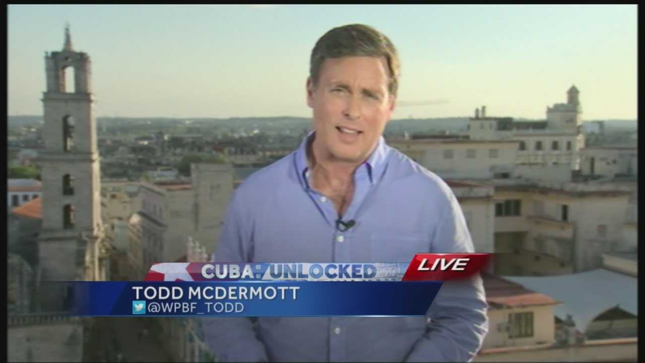 It's may be only 90 miles away from Florida -- but it was a long trip to Cuba for Todd Mcdermott and our crew. We are the only local news source reporting live from Cuba as the highest ranking American official in 30+ years set to begin diplomatic talks. Todd discusses his arrival, and what it took to get to Cuba.