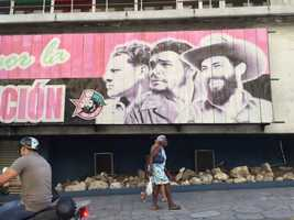 Billboard on hotel that was Fidel Castro's headquarters after the revolution.