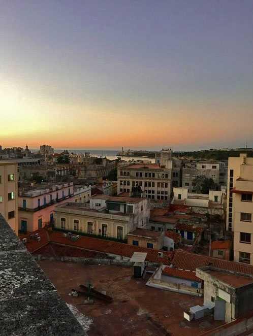 Sunset over Cuba.