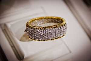 """""""Reese Witherspoon for example at the Golden Globes this year was wearing this particular piece,"""" said Jonathan Bruckner, Vice President of marketing and sales for Tiffany's in Florida and Texas. """"It's a Schlumberger bangle with diamonds and 18 carat gold encrusted it's really, really exciting. This piece has over 40 carats of diamonds total weight."""" The price tag? $200,000."""