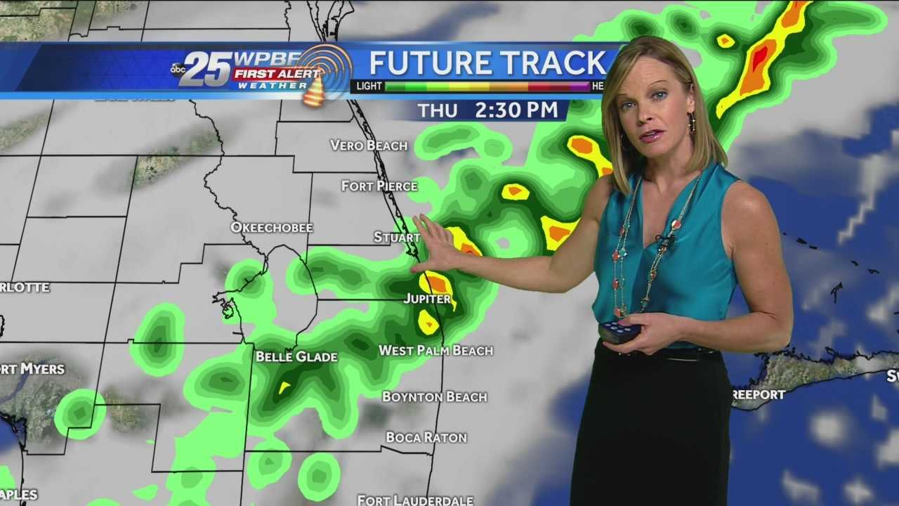 A cold front will sweep through the area today with some scattered showers this afternoon and gusty SW winds up to about 24 mph at times. It will also be tropically humid with highs soaring into the middle 80s out ahead of the front! Clouds will trump the sun for the most part today. Friday will be cooler with highs in the middle 70s, after several days in the 80s. Slight chances of showers will persist through the first half of the weekend with highs about 80 Saturday and Sunday.
