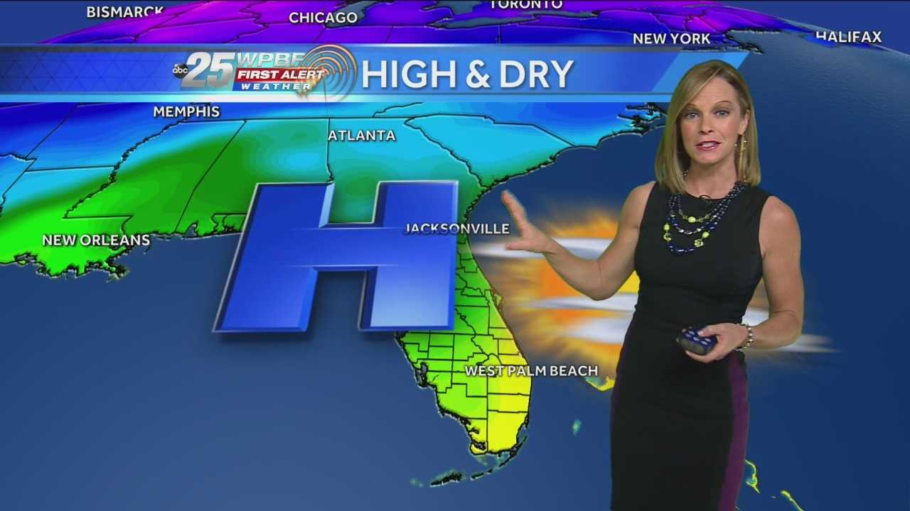 After wash-out, flooding rains Saturday & sunshine Sunday, South Florida will see more sun for the start of the work week! In fact, high pressure overhead will mean stable, dry, but warmer than normal conditions through Thursday.