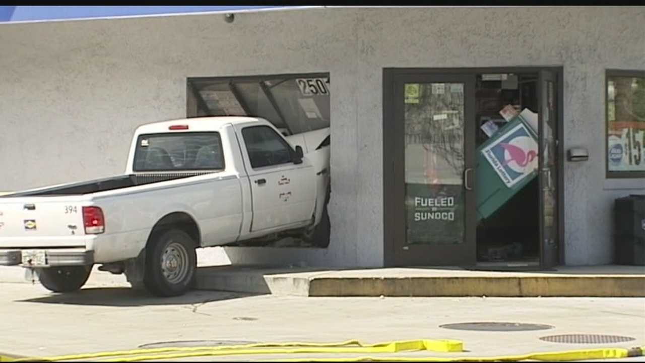A truck slammed into a Fort Pierce gas station Monday. John Dzenitis reports.