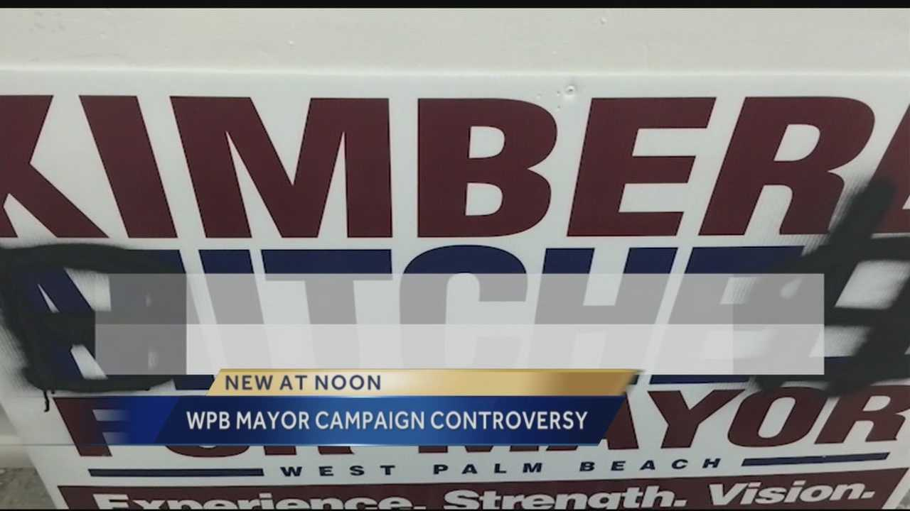 West Palm Beach mayor candidate Kimberly Mitchell is claiming that Jeri Muoio's campaign is engaging in dirty politics after several of Mitchell's campaign signs have been found defaced with a derogatory term.