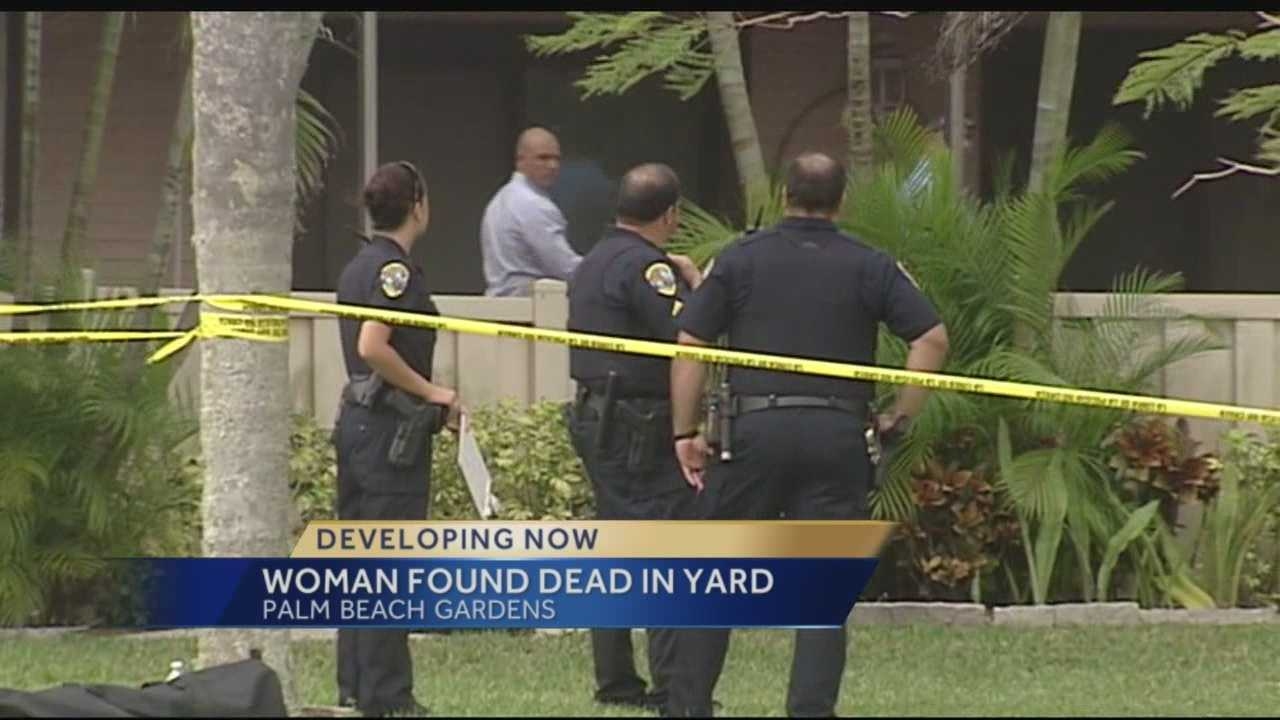 We're working to learn the identity of a woman who was found dead in the yard of a Palm Beach Gardens neighborhood. Police arrived at the home on Golden Eagle Circle Sunday afternoon.