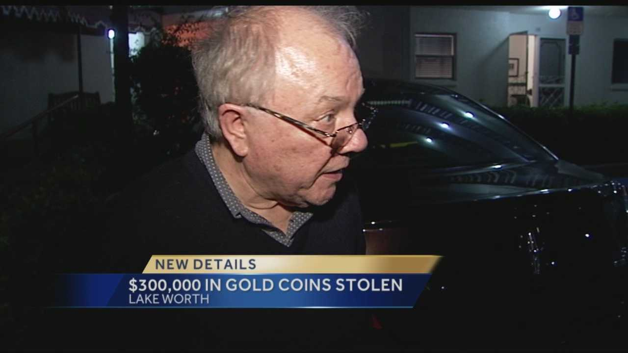 Sheriff's detectives are seeking up to three men who used two rental cars and a clever distraction technique to steal a gold coin dealer's life savings just a few feet behind his back.