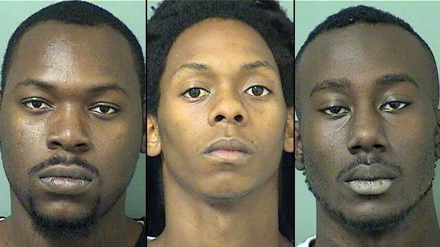 Left: Alton Fluellon. Center: Byron Desravines. Right: Marvin Hinds. The three are facing charges including grand theft auto, fleeing to elude, resist without violence, and possession with intent to sell.