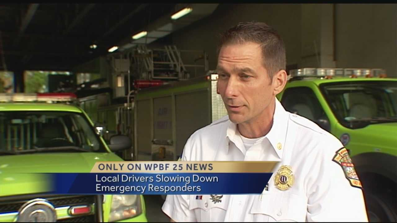 In an emergency, minutes or even seconds could mean life or death, but there is a growing problem in South Florida. Drivers not getting out of the way for emergency responders. Only WPBF 25 News' Stephanie Berzinski rode along with Palm Beach Gardens Fire Rescue to see the problem first hand, and what they captured on video is frightening.