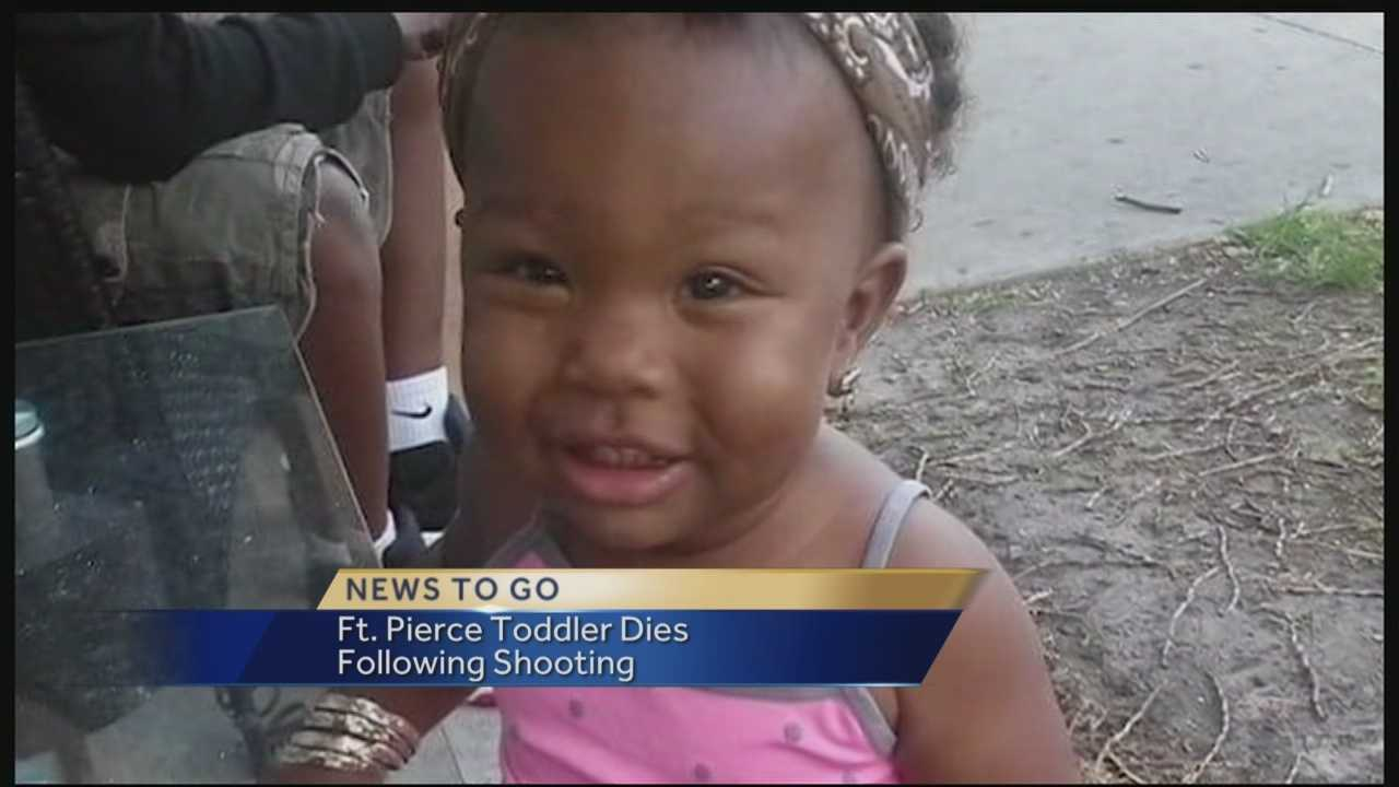 A 2-year-old girl hit in a drive-by shooting on April 20 in Fort Pierce has died.