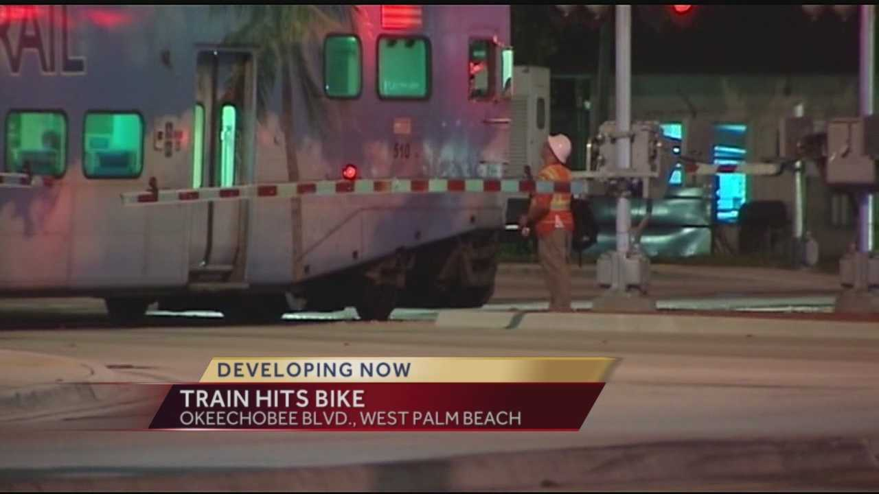 West Palm Beach police are investigating an accident involving a train and bicyclist Tuesday night.