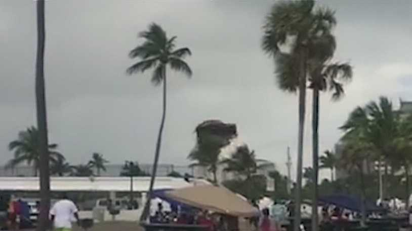 The man who recorded a bounce house flipping due to a waterspout talks with WPBF's Whitney Burbank.