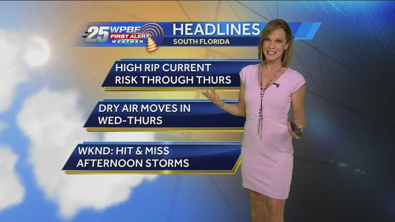Temperatures will soar into the upper 80s today with east winds at about 15-25 mph. Those east winds will mean a high risk of rips currents again on area beaches. The high rip current risk will persist through Thursday. There's a 20 percent chance of some showers moving in from the Atlantic today as well.