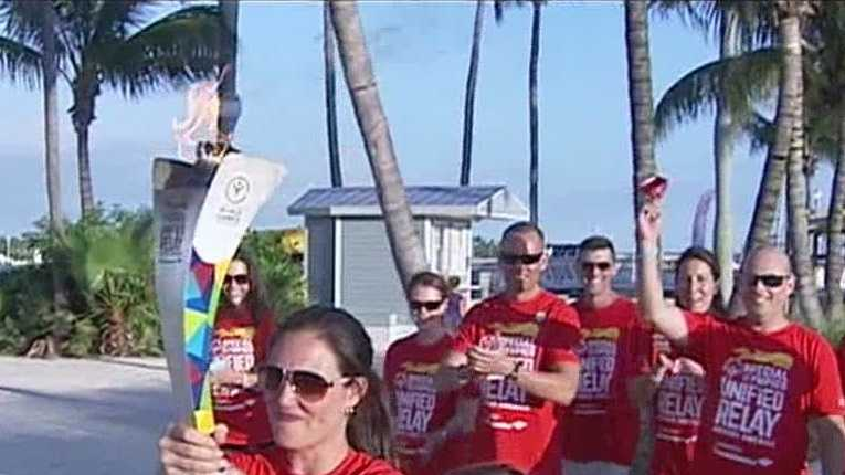 History was made in West Palm Beach Tuesday night as the first ever Special Olympics torch relay stopped downtown. Ari Hait reports.