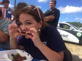 WPBF-TV's Stephanie Berzinski was a judge in the rib eating contest.