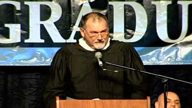 A screen grab image of West Boca High School Principal Mark Stenner during his commencement address.