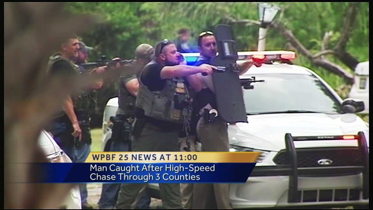 Only WPBF 25 News was there when a convicted felon wanted for firing a gun at his girlfriend was caught a 100-mph police chase from West Palm Beach to Fort Pierce.