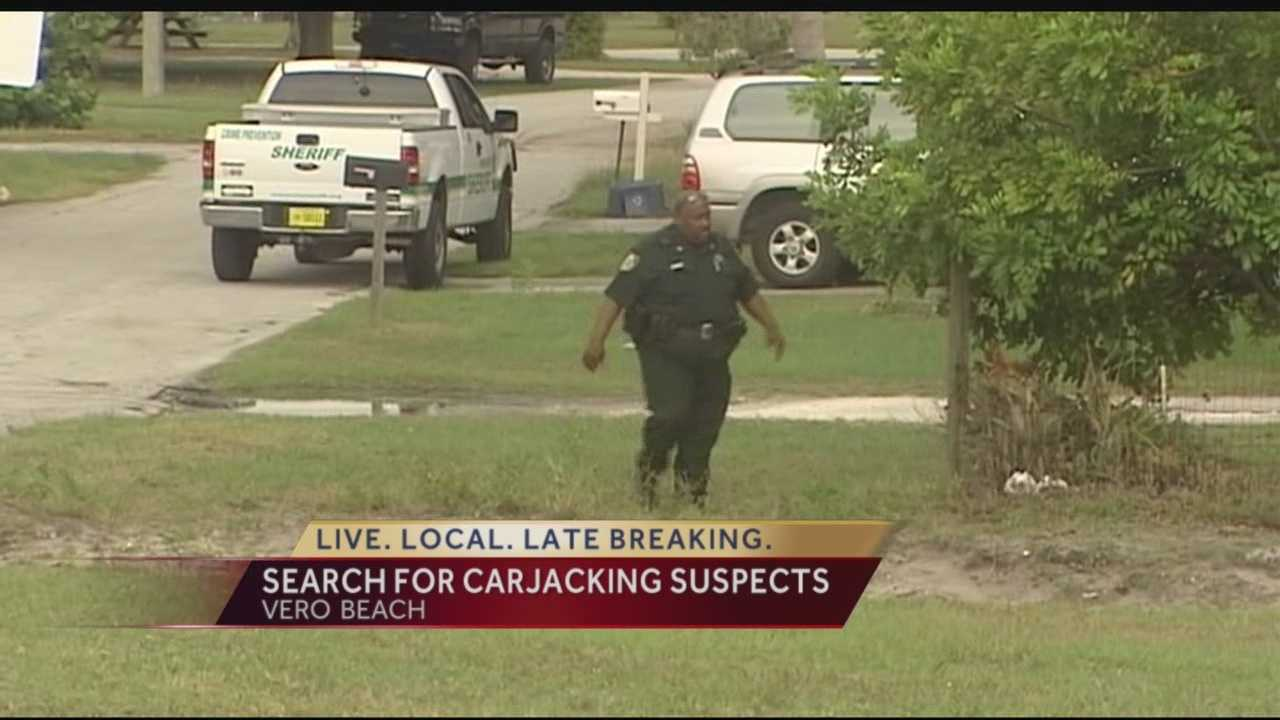 Deputies are continuing their search for two suspects wanted in connection to a carjacking incident that took place Wednesday night.