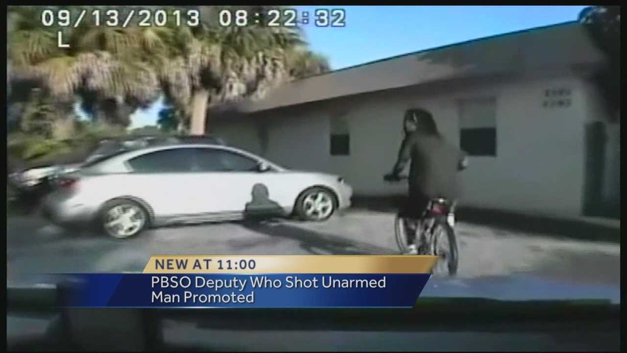 The Palm Beach County Sheriff's Office is promoting the deputy who shot an unarmed man in 2013. Dashcam video shows the deputy stopping the man for a traffic offense. The deputy shot the man four times because he thought the man had pulled a gun -- but it turned out to be a cellphone.