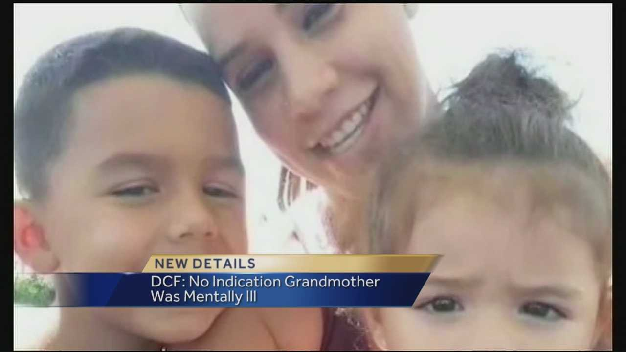 A DCF report indicates a grandmother accused of shooting and killing her daughter and two grandchildren before killing herself had no history of mental illness or violence.