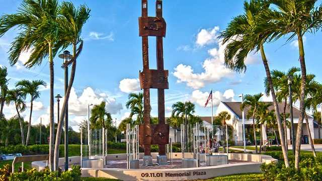 The 9/11 Memorial Plaza in Palm Beach Gardens where a piece of steel from NYC stands.